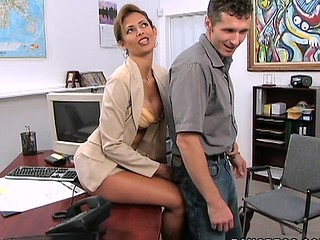 Winning dark brown is having sexual coitus with her boss indoors